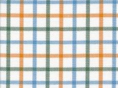 Fanel: blue green and orange checks